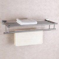 Brushed Finish 304 Stainless Steel Bath Towel Rack Wall Mount Bathroom Shelf with Double Towel Bar 60 CM Storage Organizer