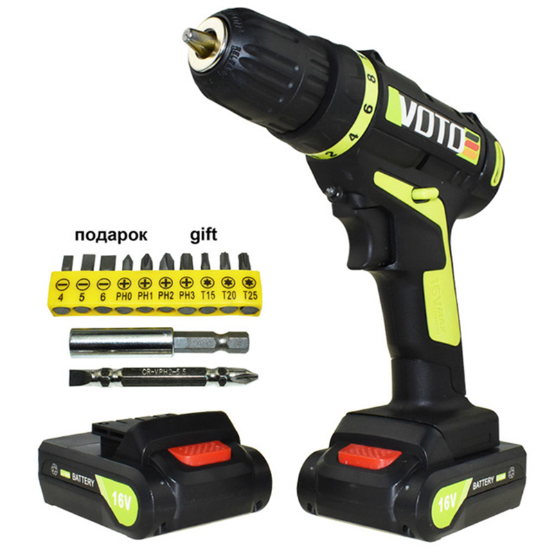 16v electric Screwdriver Power Tools electric Drill Cordless Drill battery Drill Electric Drilling Li-ion Battery Screwdriver free shipping brand proskit upt 32007d frequency modulated electric screwdriver 2 electric screwdriver bit 900 1300rpm tools