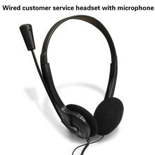 Wired Stereo Headset Noise Cancelling Earphone with Mini Mic for Office Customer Service Adjustable for Computer Laptop Desktop(China)