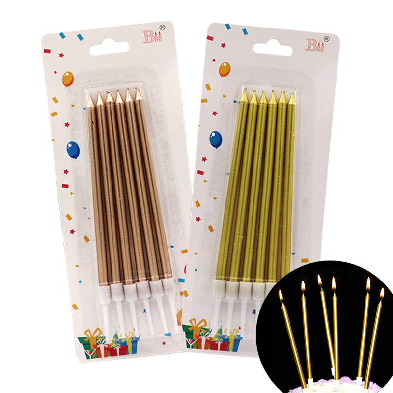 6 PCS Golden Long Pencil Cake Candle Safe Flames Kids Birthday Party Wedding Cake Candle Home Decoration Favor Supplies
