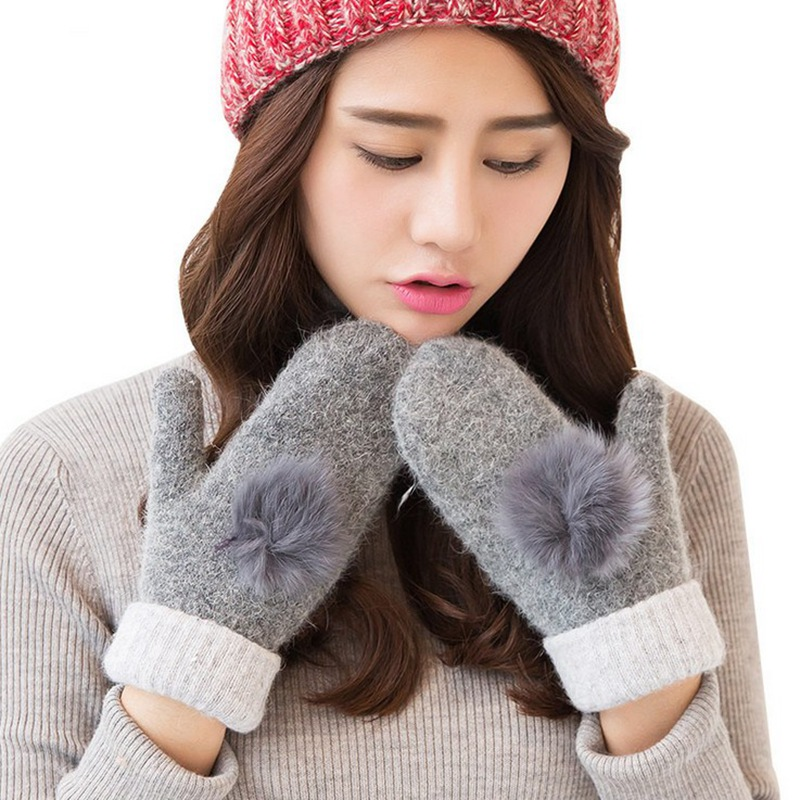 Women Winter Dpuble Layer Thick Cashmere Wool Adult Warm Knit Twist Full Finger Gloves Soft Lady Fur Mittens