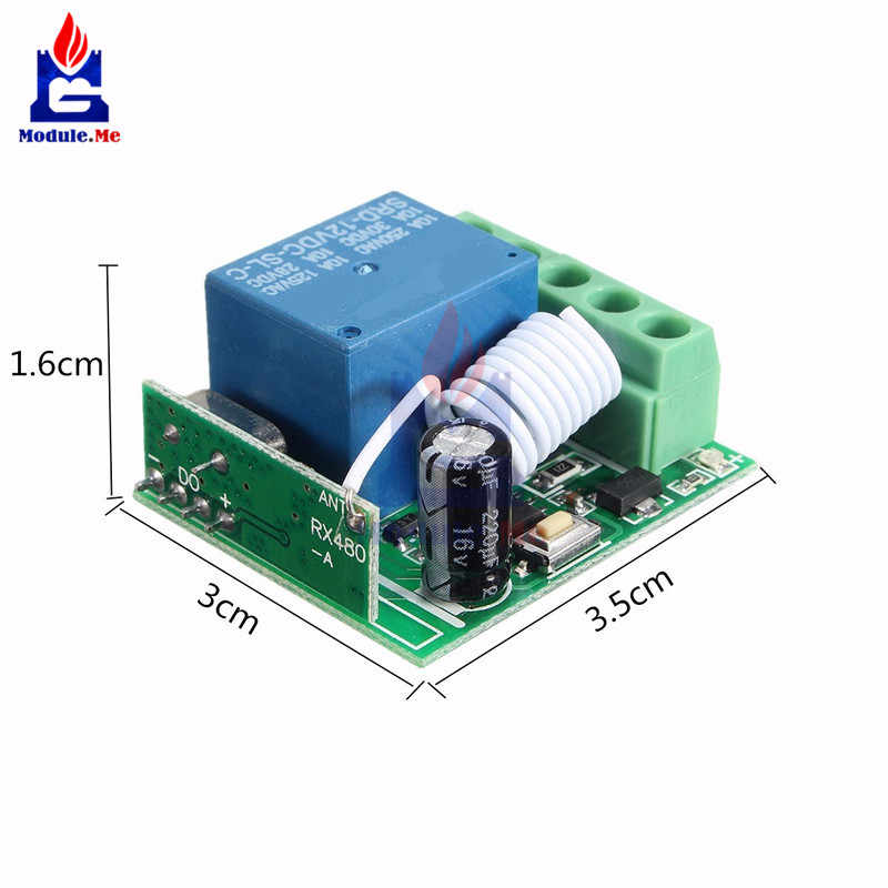 DC 12V 1 Channel Relay Shield 433MHz Wireless Relay Module RF Remote  Control Switch Receiver Controller Board for Arduino MCU