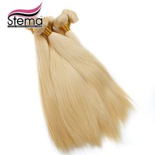 Wholesale 10pcs/lot Natural Straight #613 Blonde European Hair Bundles Free Shipping Double Weft #613 Virgin Hair Extensions
