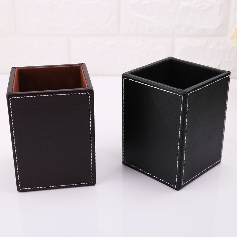 Leather Square Pen Pencils Holder Desk Stationery Organizer Box Storage Office School SupplierWholesale Dropshipping