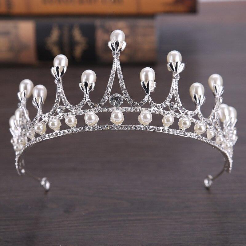 New 2018 Luxury Big Pearl Bridal Crown Tiaras Silver Crystal Diadem Tiara for Bride Headbands Wedding Hair Accessories