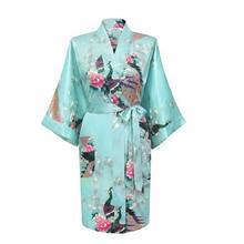 2014 NEW Chinese Women s Silk Rayon Robe Kimono Bath Gown Nightgown S M L XL