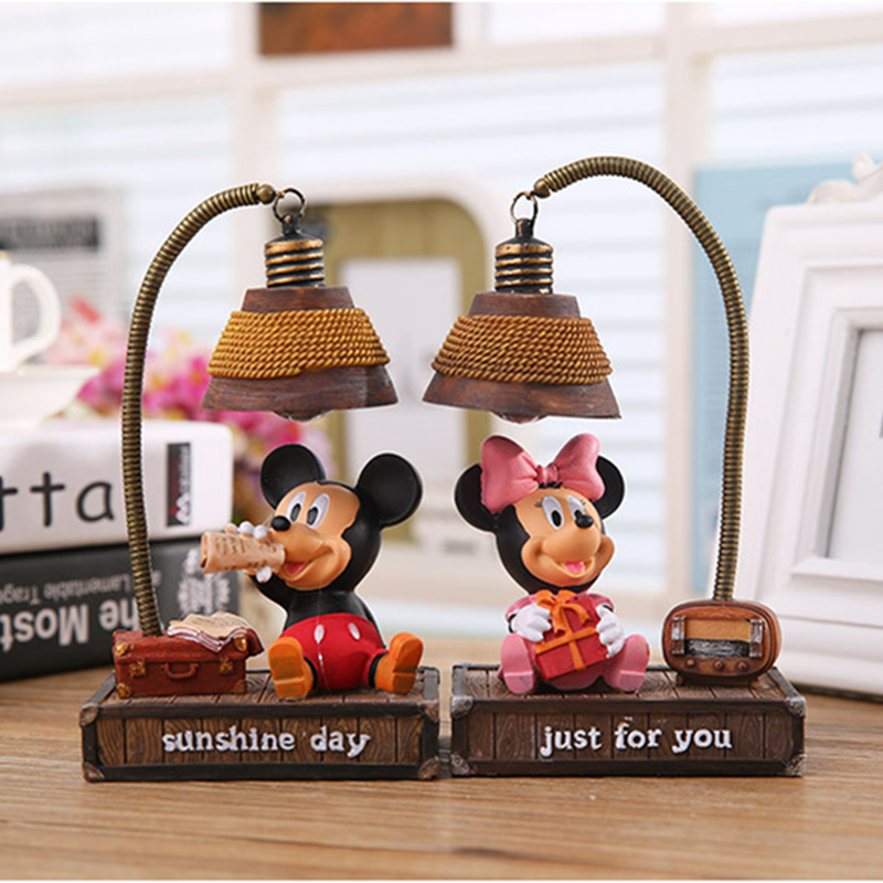 Cute Cartoon Mickey Light Minnie Mouse Resin Lamp Night Light Figurine Craft Home Desk Ornament Decoration Decor Kids Boy Gifts
