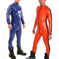 0.4MM Thickness Rubber Latex Men's Catsuit With Side Line Front Zip Sexy Latex Tights Bodysuit
