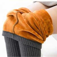 Зимние штаны для женщин, в полоску, с принтом, теплые брюки-карандаш, плотные леггинсы из флиса, модные брюки P8126