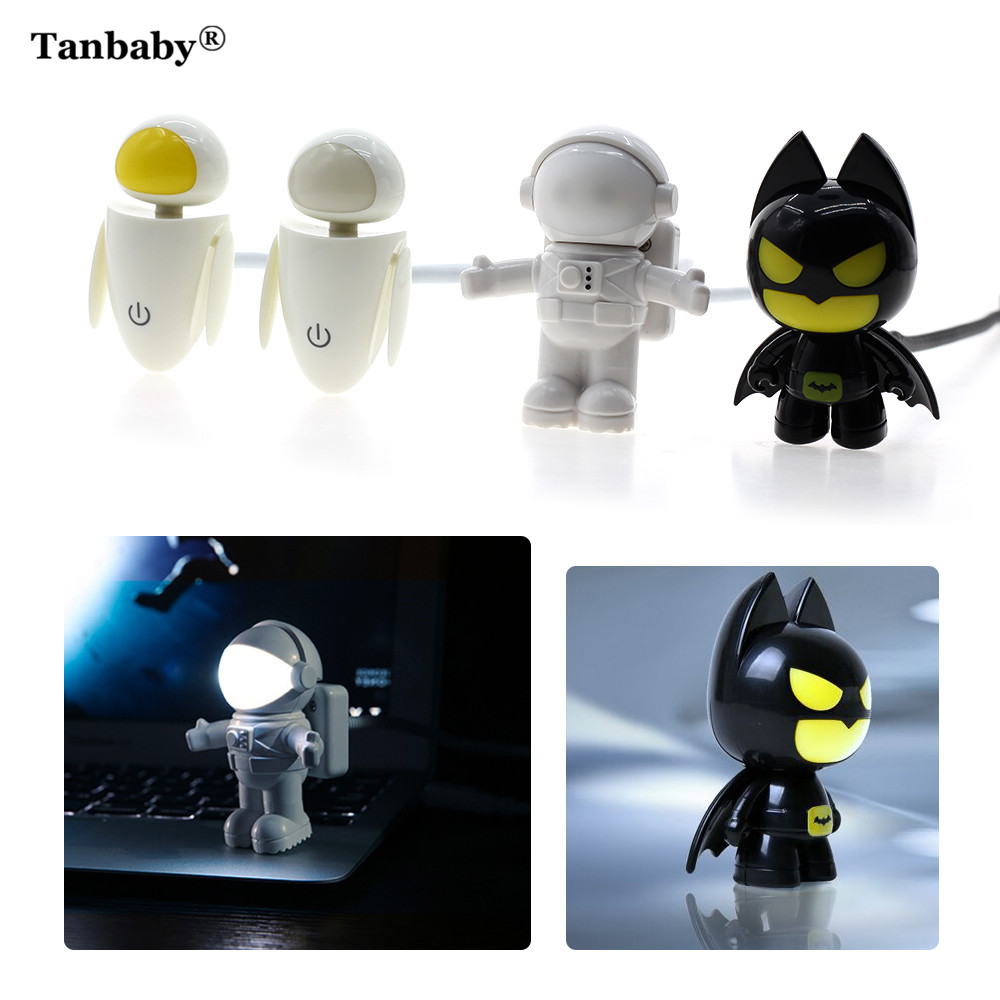 Tanbaby Mini Reading Night Lamp Children USB Tube Cartoon LED Night Light for PC Laptop Notebook Spaceman/EVA Robot/Bateman Kids new k5 led usb hat led light lamp flexible variety of colors for notebook laptop pc computer blue white yellow