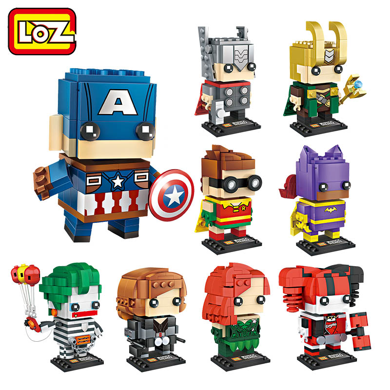 LOZ Blocks SuperHeroes Building Blocks Set The Avengers Black Widow Captain America Joker Harley Quinn Brick Heads Figure Toy