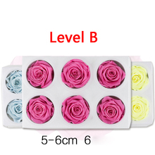 Preserved Rose Flowers Immortal 5-6CM Diameter Mothers Day DIY Wedding Eternal Life Flower Material Gift  6pcs/Box Level B