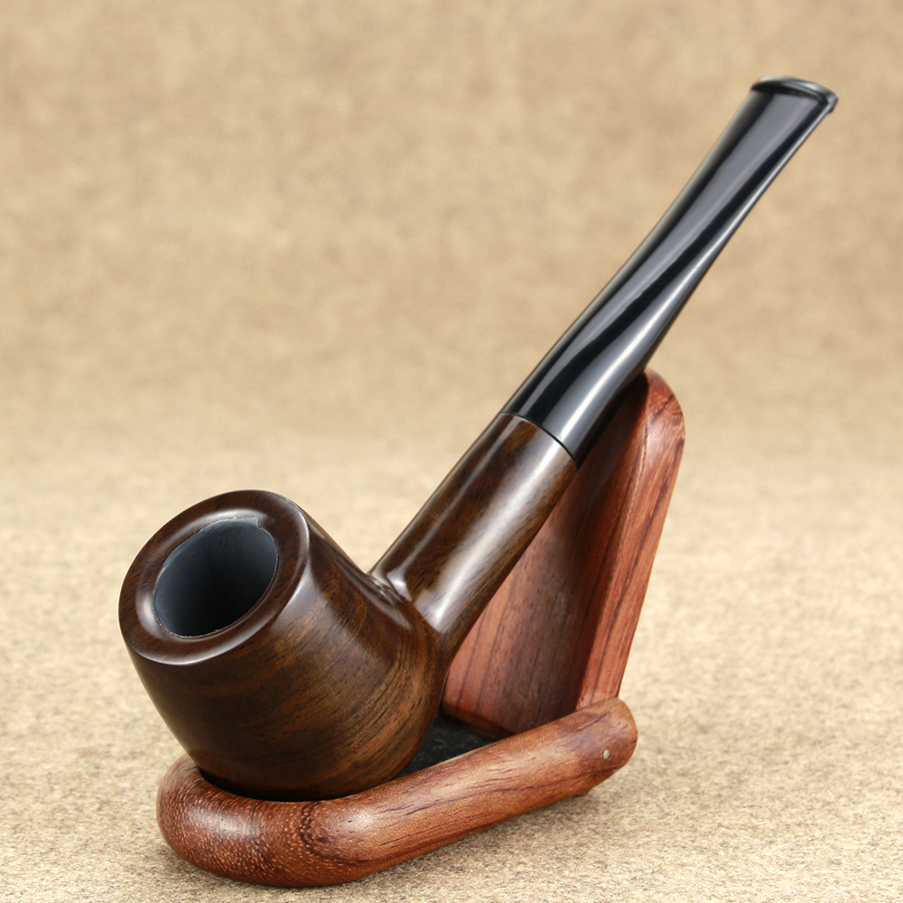 Classic Straight Wooden Pipe Best Ebony Wood Pipe 9mm Filter Tobacco Pipe Handmade Smoking Pipe with 10 tools Smoke Accessory wood