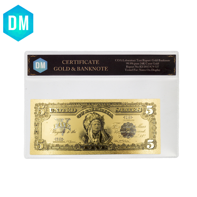 1899 Year 5 Dollar 2k Gold Banknote Collectible Us Gold Plated Paper