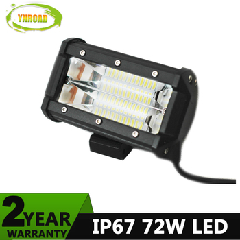 YNROAD 72w 5inch Tri-Row Led Light Bar work light Driving Offroad Light combo for fishing truck boat 4WD