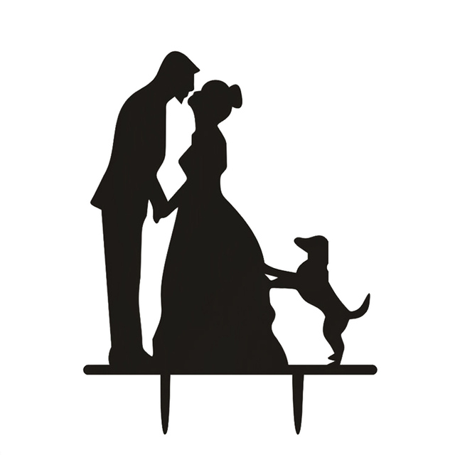 Wedding Cake Topper Couple With Dog Silhouette Cake Topper