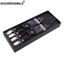 SHOWERSMILE Floral Suspenders Men Designer 3.5cm Luxury Mens Braces 6 Clips High End Quality Adjustable Y Back Male Pants Strap