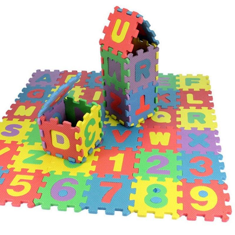 36pcs/Set 17.8*13.5*1.7cm Alphabet Numerals Kids Rug Baby Play Mat Soft Floor Crawling Mini Puzzle Mats For Children