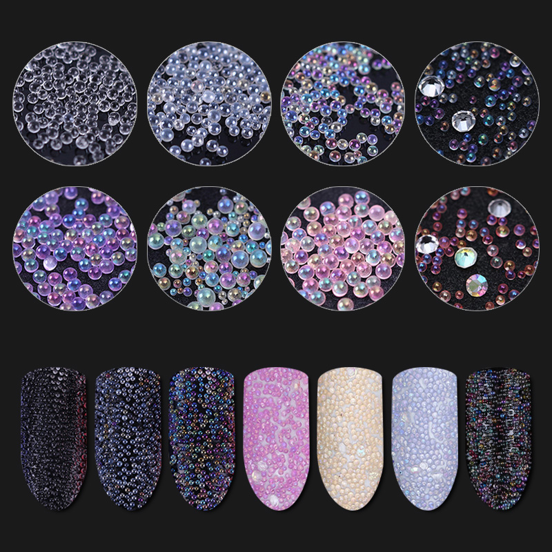 1Box Micro AB Caviar Beads Nail Art 3D Decorations Colorful Mini Glass Bubble Manicure Nail Decoration UV Gel Polish For Nail rose gold silver black nail beads caviar studs multi size diy 3d nail art uv gel lacquer decoration in wheel manicure accessorie