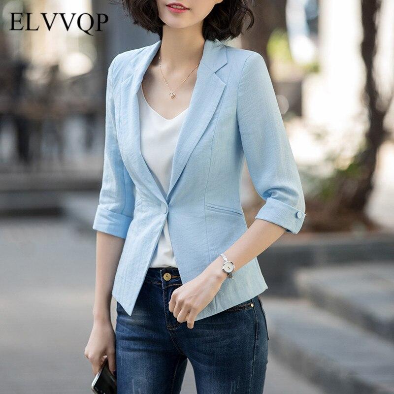 Vintage Women Blazers and Jackets Plus Size Casual Three Quarter Sleeve Blazer Feminino Mujer 2018 Spring White Cotton Blazer N2 jeans con blazer mujer