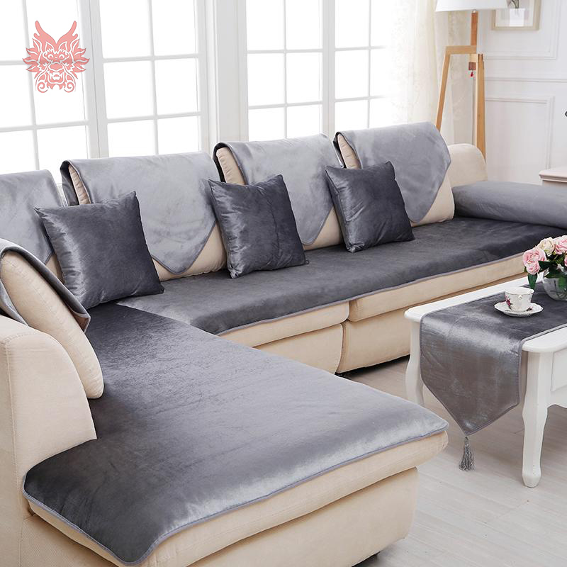 Attractive Free Shipping Grey Camel Red Black Velvet Sofa Cover Flannel Plush  Slipcovers Cheap Sectional Couch Covers
