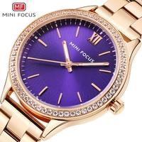 MINIFOCUS Women`s Waterproof Watche Ladies Creative Stainless Steel Bracelet Watches Purple Female Clock Relogio Feminino Montre