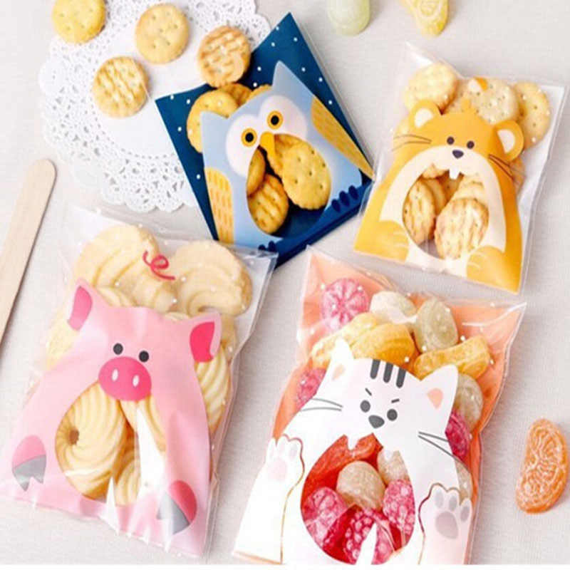 50Pcs Cute Cartoon Animals Cookie Candy Bag Self-Adhesive Plastic Bag For Wedding Birthday Party Biscuits Baking Gift Packaging