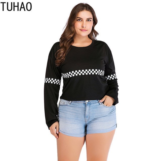 d5e0e3dfa688 TUHAO Весна 2019 Большие размеры 3XL 2XL Женская клетчатая черная блузка  рубашка Топ ...
