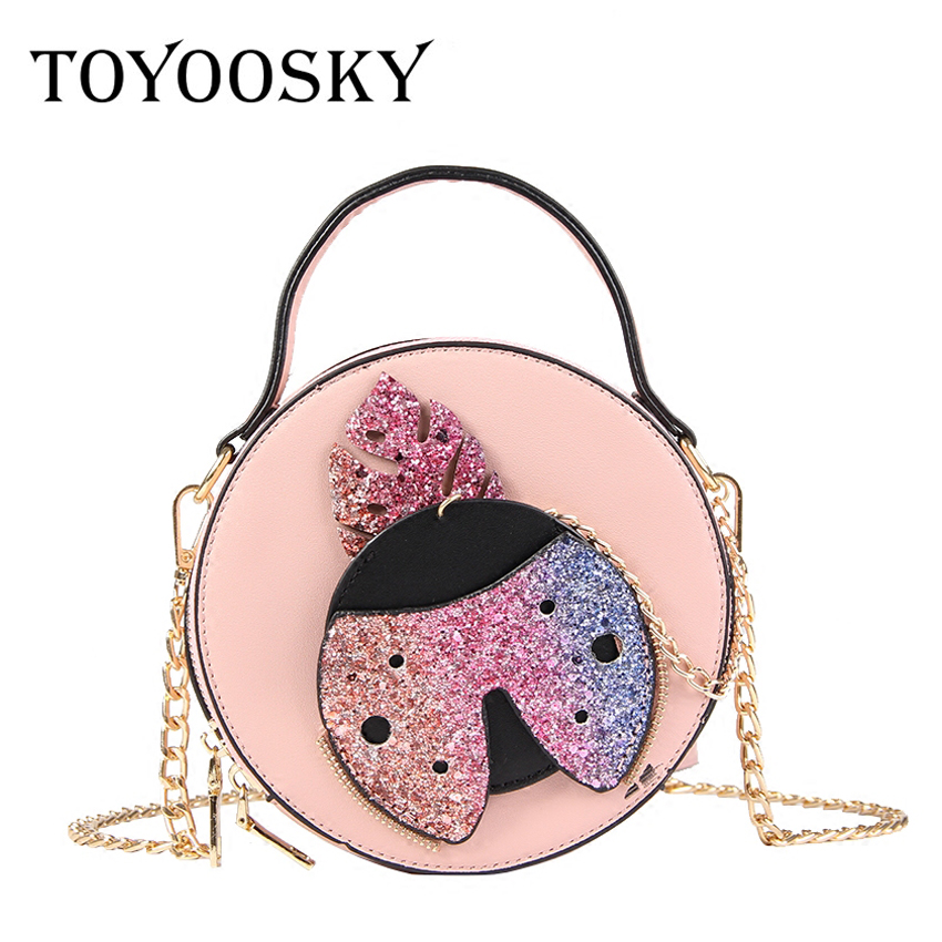 85cef820f12b TOYOOSKY Chic Small Round Handbag Designer Sequins Women Crossbody Bags  Casual Circular Clutch Girls Chain Shoulder Bag Sac-in Shoulder Bags from  Luggage ...