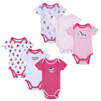 6pcs Lot Free Shipping 6pcs Lot Short Sleeves Round Collar Boy Girl Baby Rompers Quality Pure