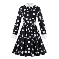 Sisjuly Women S Vintage Dress 2017 Autumn Black Dot Print Full Sleeve Audrey Hepburn 50s Pinup