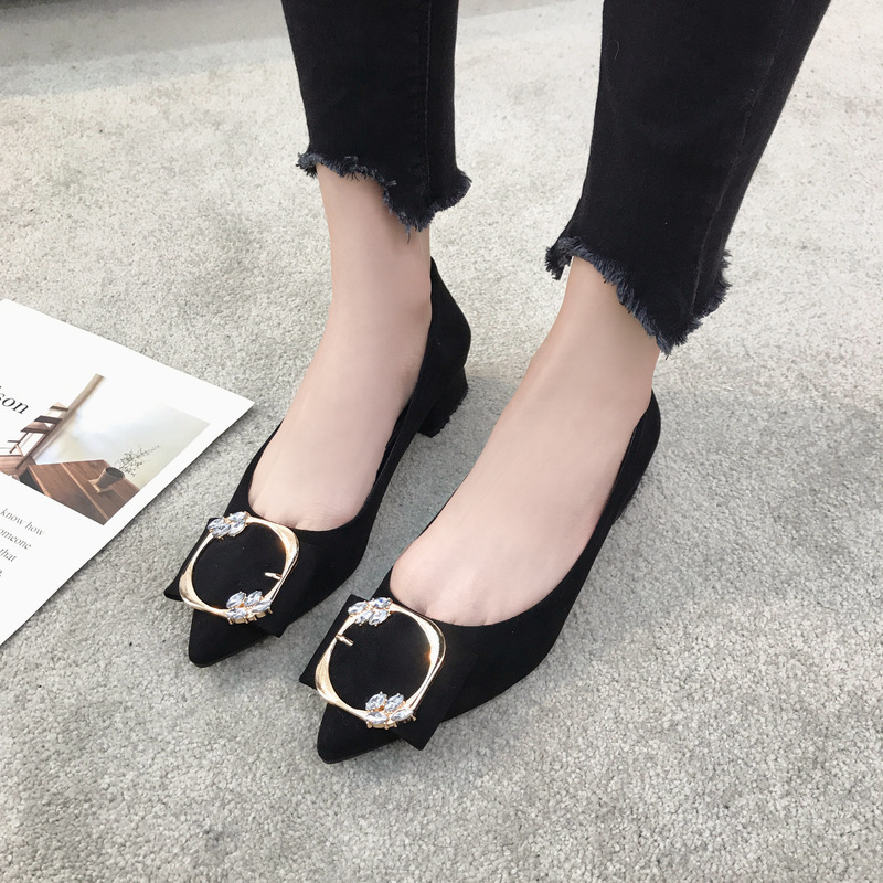 Trabajo Tacón Cómodo Rebaño Primavera Moda Bling caqui Zapatos Mujer 2019 Cristal Breve Hebilla Nuevo Cuadrada Bombas Negro De Bajo Soltera Mocasines vATZgxwq