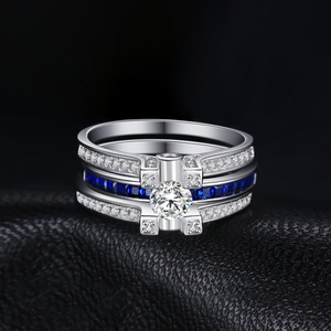 Image 3 - JPalace Created Sapphire CZ Engagement Ring 925 Sterling Silver Rings for Women Wedding Rings Bridal Sets Silver 925 Jewelry