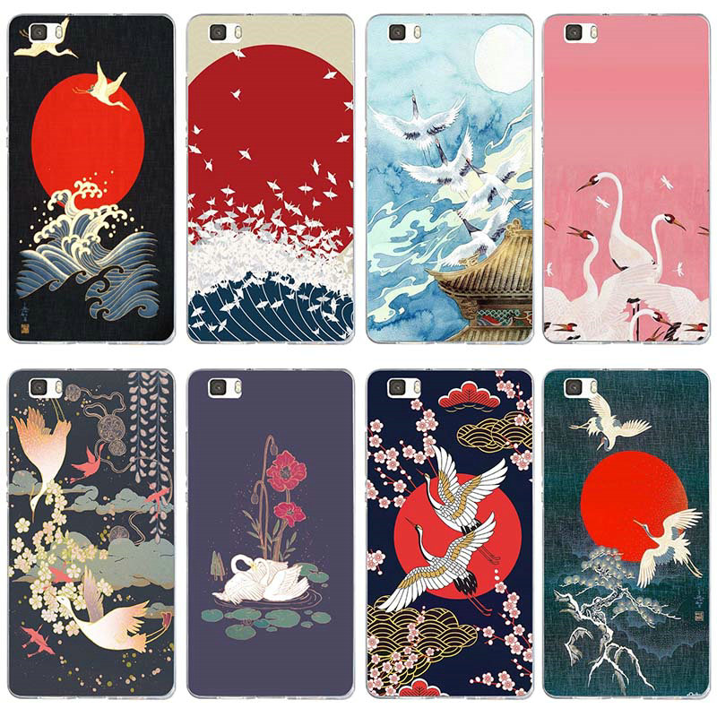 Wave Art Japanese Green Illust For Huawei P8 P9 P10 P20 P30 Y5 Y6 II Y7 Honor 6X 9 Mate 10 Pro Lite Soft TPU Phone Cases