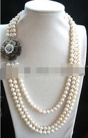 3rows 9mm white freshwater pearl round and black shell flower necklace 18-20nature3rows 9mm white freshwater pearl round and black shell flower necklace 18-20nature