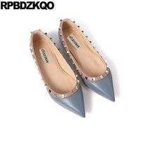 Patent Leather Custom Rivet Designer Shoes Women Luxury 2018 Italian Flats Rock Stud Genuine Pointy High