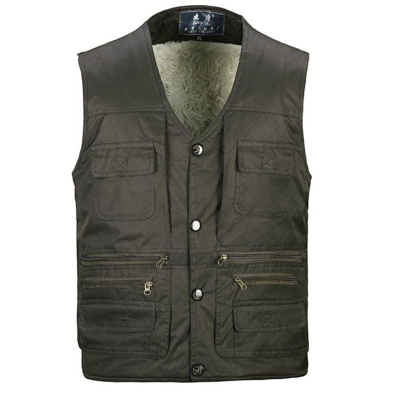 NEW Plus Size S-4XL Autumn&Winter Men Multi-pocket  Man Lambs Wool Lining Vest Jacket  Warm Thicken Gilet  Men Vests