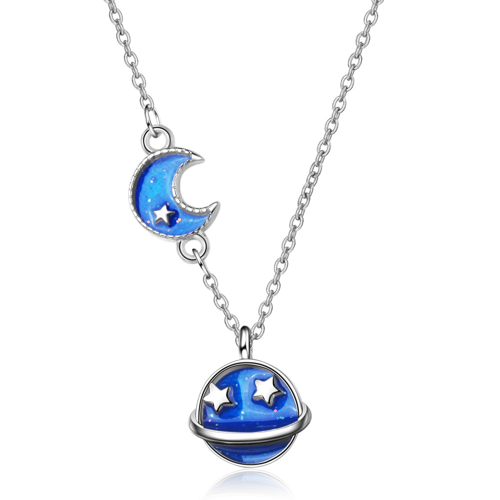 New Design Blue Sky Moon Star 925 Sterling Silver Chokers Necklaces for Women Girls 2019 Fashion Necklace Pendant Jewelry