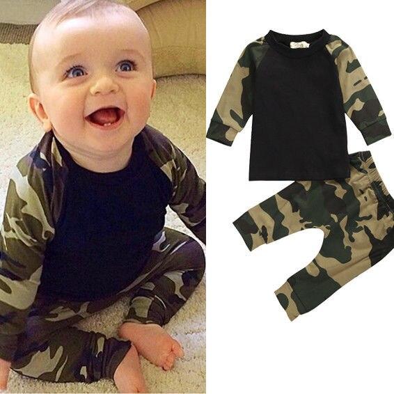Fashion Baby Boy Camouflage Clothing Set Newborn Baby Boys Kids Cotton T-shirt Tops + Pants Outfit Clothes Set 2pcs