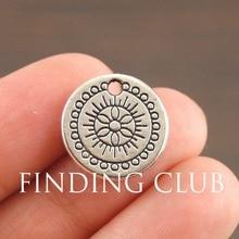 30 шт. Античный Серебристый круглый узор Шарм DIY металлический браслет ожерелье ювелирные изделия A1065