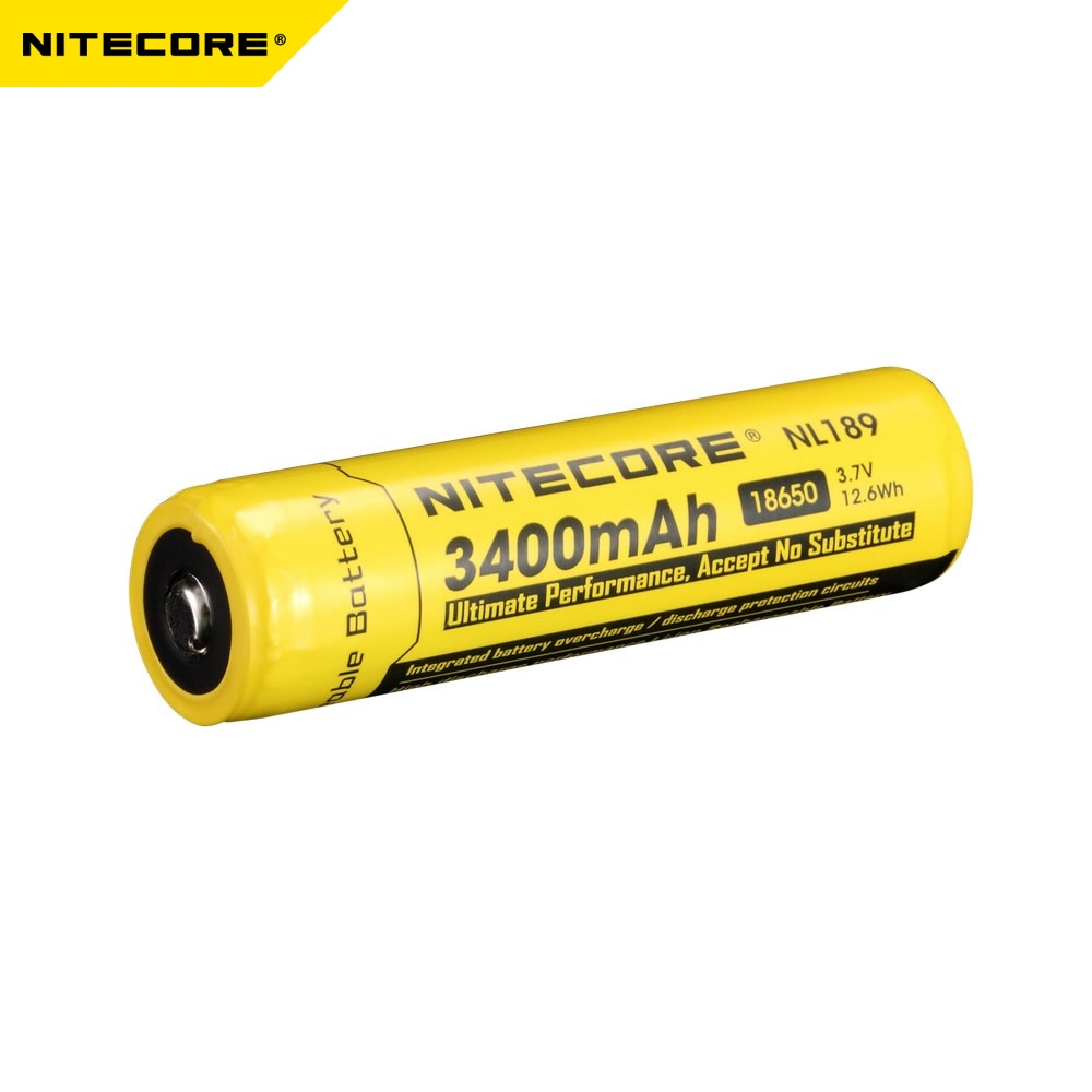 100% Original Nitecore NL189/NL1834 18650 3400mah 3.7V Li-ion Protected Battery with Button Top for All Type Flashlights 1 Piece100% Original Nitecore NL189/NL1834 18650 3400mah 3.7V Li-ion Protected Battery with Button Top for All Type Flashlights 1 Piece