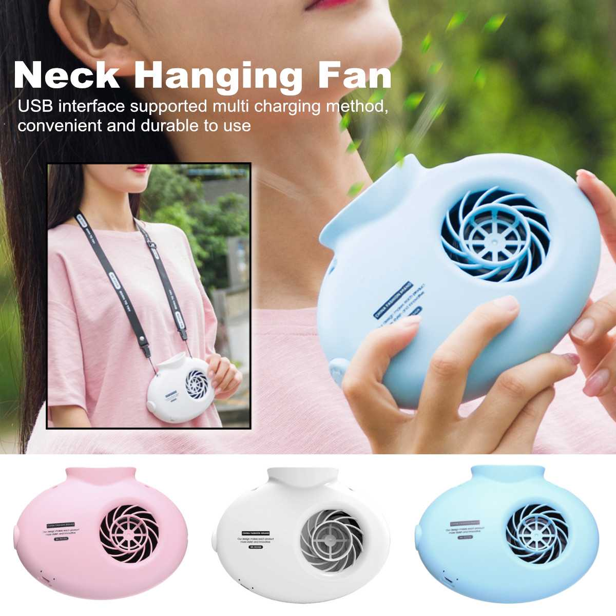 Portable Battery Operated Neck Hanging Fan USB Rechargeable Mini Desk Air Cooler Outdoor Indoor Mini Fan Appliance 4W 3 ColorsPortable Battery Operated Neck Hanging Fan USB Rechargeable Mini Desk Air Cooler Outdoor Indoor Mini Fan Appliance 4W 3 Colors