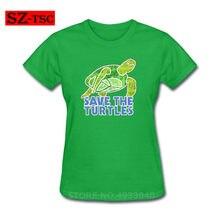 578cb69c2 100% cotton Save the Turtles print T-Shirt Save Turtles Shirt Fashion  Womens o