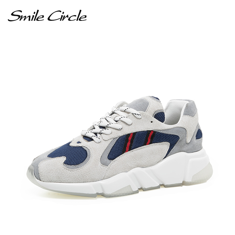 Smile Circle Breathable mesh sneakers platform casual shoes For women 2018 Autumn Lace-up mixed colors chunky sneakers smile circle women chunky sneaker breathable mesh lace up thick bottom flat platform shoes for women autumn round toe sneakers