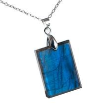 Natural Labradorite Strong Blue Light Pendant Gemstone Women Men Fashion 24x18x6mm Rectangle Crystal Moonstone AAAA