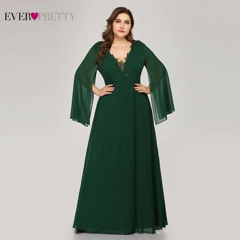 Plus Size Green   Evening     Dresses   Ever Pretty EZ07948 A-Line V-Neck Appliques Elegant Women Formal   Dresses   For Party Abendkleider