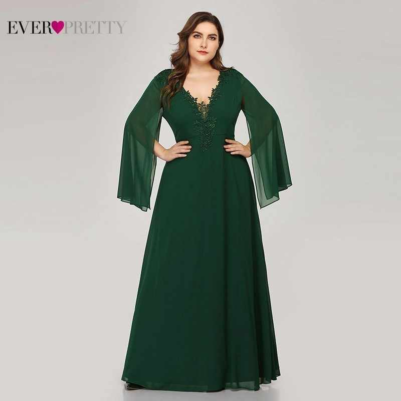 Plus Size Groen Avondjurken Ever Pretty EZ07948 A-lijn V-hals Applicaties Elegante Vrouwen Formele Jurken Voor Party Abendkleider