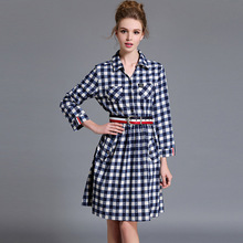 turn down collar button long sleeve BELT CHECKS high split sexy strand jurkjes retrol print chiffon women ladies tshirt dress