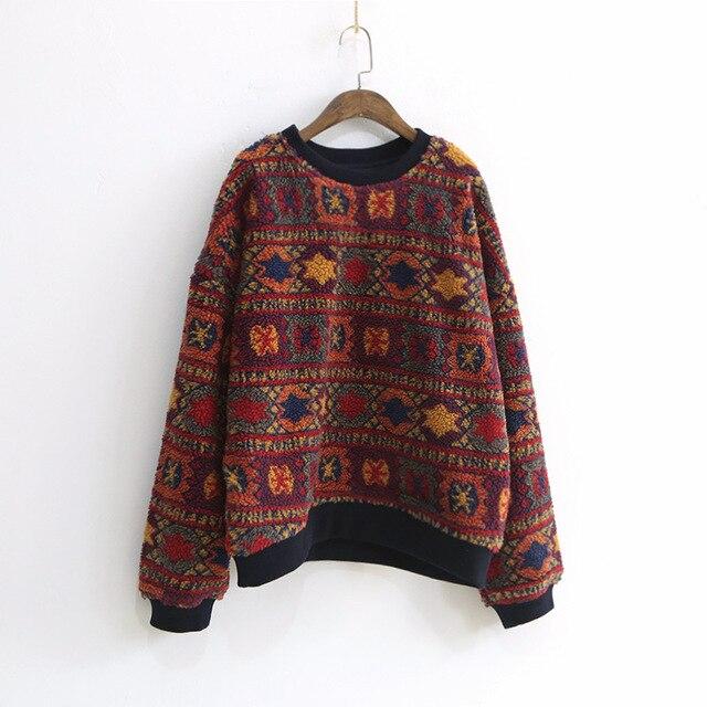Vintage Print Floral O-Neck Sweatshirt