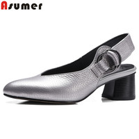 ASUMER 2018 New fashion genuine leather shoes women pumps summer ladies high heels shoes party wedding shoes silver footwear